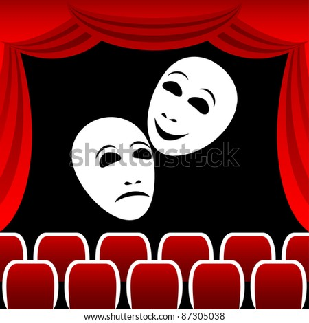 Two white theatrical masks on a black background. Masks represent tragedy and a comedy. Round a composition a red curtain.EPS version is available as ID 84425080. - stock photo