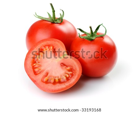 Two whole tomatoes and one half. Isolated on white background - stock photo