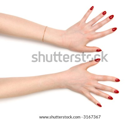 Two wide open woman hands. On white with shadows. - stock photo
