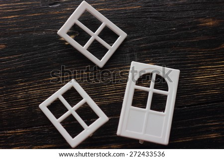 two windows, the doors of the constructor - stock photo
