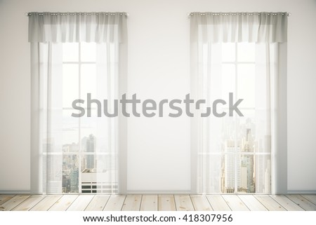 Two windows with curtains in room interior with light wooden floor, concrete wall and city view. 3D Rendering - stock photo