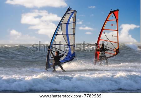 two windsurfer - stock photo