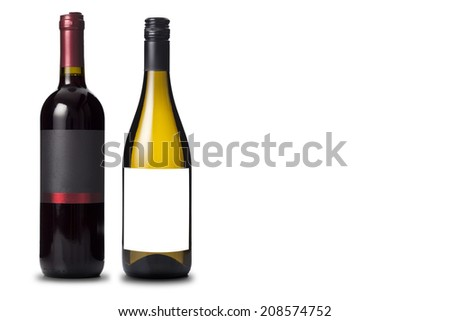 Two wine bottles black and white - stock photo