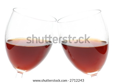 Two wine glasses isolated on the white - stock photo