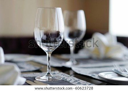 Two wine glasses on a table
