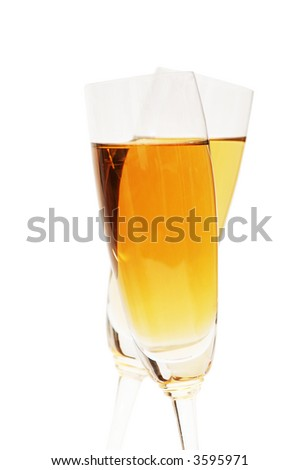 Two wine glasses on the white background - stock photo