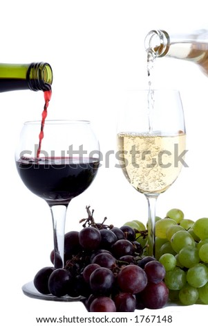 Two wine glasses with grapes