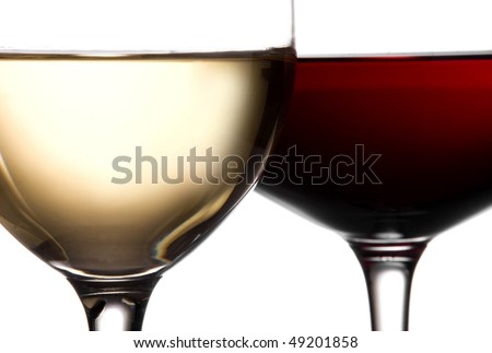 two wineglass white wine and red wine