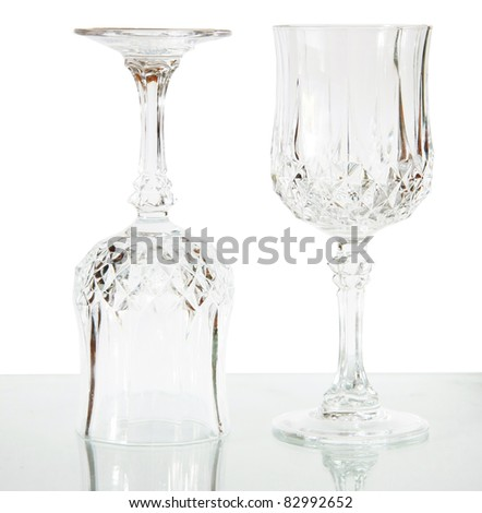 two wineglasses isolated on white - stock photo