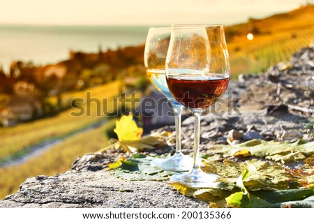 Two wineglasses on the terrace of vineyard in Lavaux, Switzerland - stock photo
