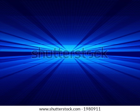 Two wire surfaces and mysterious lighting from far behind. Computer generated image. - stock photo