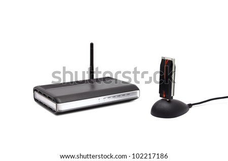 two Wireless router on a white background - stock photo