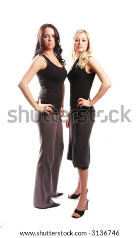 two woman are team workers against white background