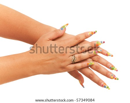 Two woman hands; isolated on the white background - stock photo