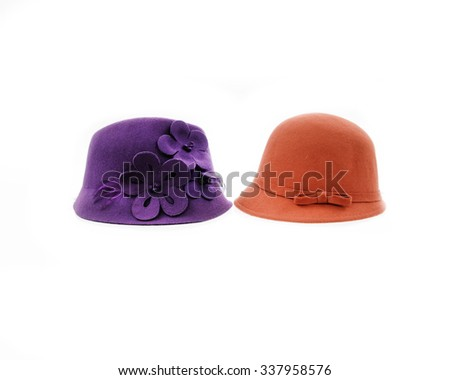 Two woman hat, isolated    - stock photo