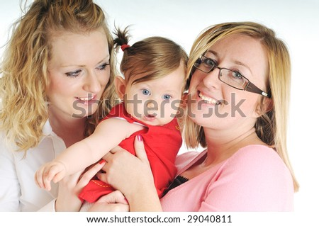two woman one baby isolated on white - stock photo