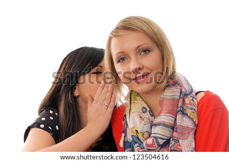 two woman talks / two woman - stock photo