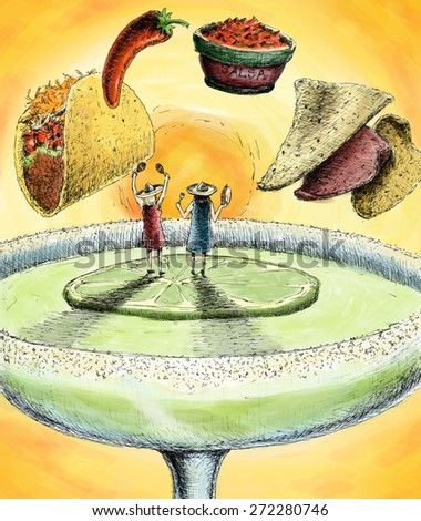 Two woman wearing sombreros surrounded by Mexican food and standing on a lime in a Margarita - stock photo