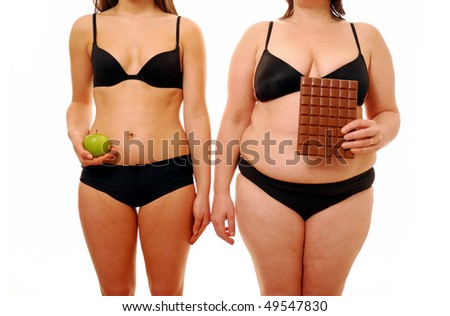 Two woman with different body shapes holding their chosen snack - stock photo