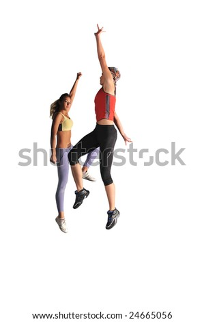 two womans work out and jumping in fitness club - stock photo