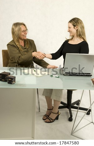 Two women are sitting in an office at a table.  They are shaking hands and smiling at each other.  There is a laptop and writing equipment on the table.  Vertically framed shot. - stock photo