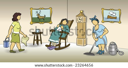 Two women cleaning the living room for an elderly woman sitting in a rocking chair