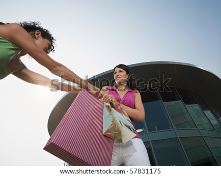 two women contending shopping bags out of shopping center. Horizontal shape, low angle view, copy space - stock photo