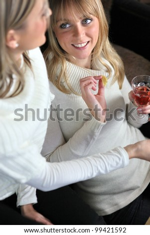 Two women drinking wine together - stock photo
