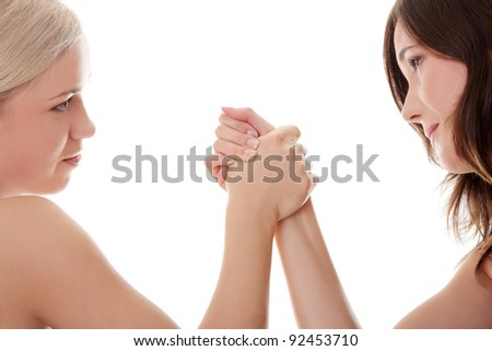 Two women hands fight, isolated on white background