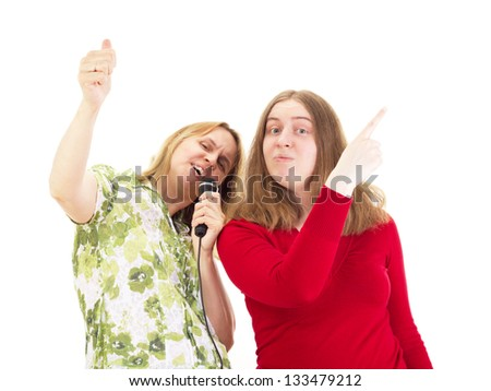 Two women having fun - stock photo