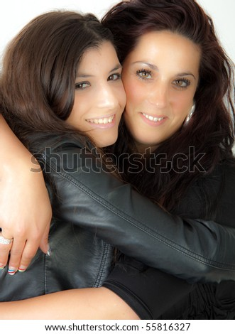 Two women hugging - stock photo
