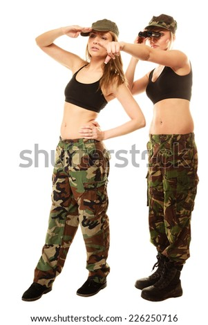 Two women in military clothes search with binoculars army girls in full length isolated on white