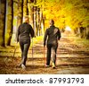 Two women in the park - Nordic walking - stock photo