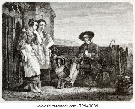 Two women listening a man playing flute. Created by Freeman, published on Magasin Pittoresque, Paris, 1850 - stock photo