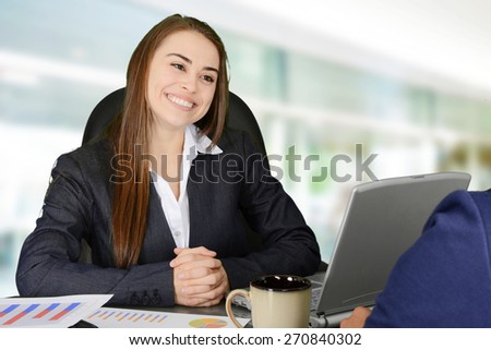 Two women meeting together in an office - stock photo