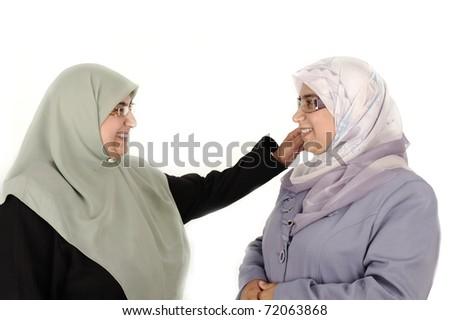 two women muslim - stock photo