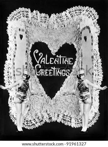 Two women posing on Valentine - stock photo