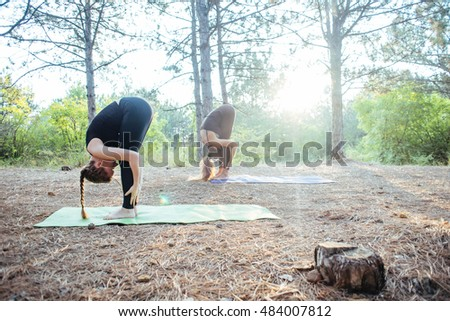 two women practicing yoga in the wood. Group of people practicing yoga during sunset or sunrise
