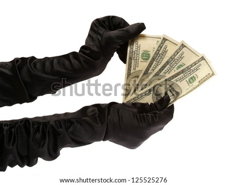 two women's hands in black gloves holding $ 400 on a white background