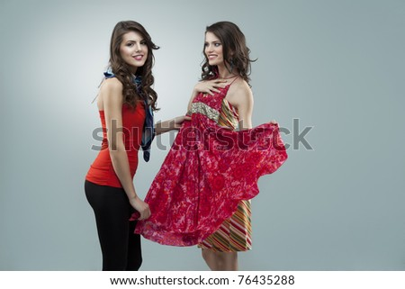 two women shopping flowers red dress