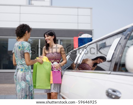 two women standing by limousine and looking at shopping bags. Horizontal shape, copy space - stock photo