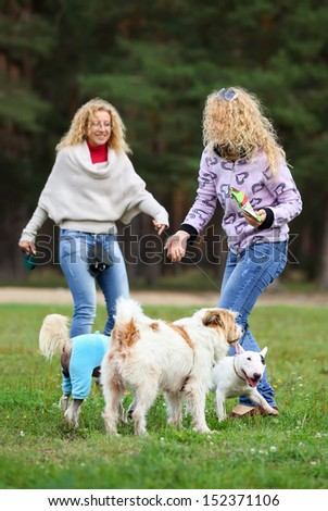 Two women with a group of dogs - stock photo