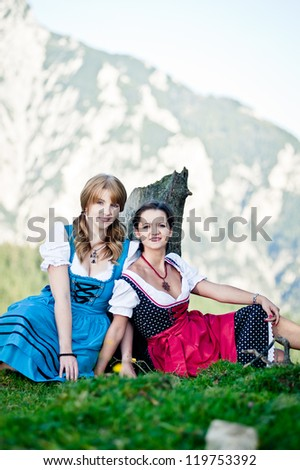 Two Women with Dirndl in the Austrian Alps