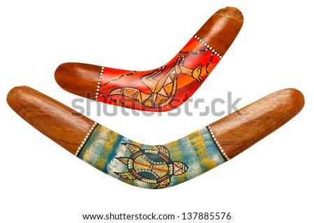Two wooden australian boomerangs on white - stock photo