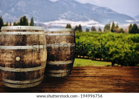 Two wooden barrels on nature background.  - stock photo