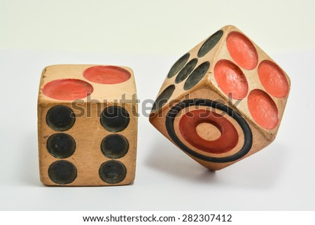 Two wooden dice on white background - stock photo