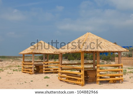 Two wooden gazebo