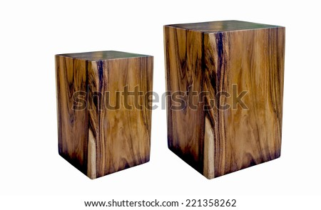 two wooden stool isolated on white background. - stock photo