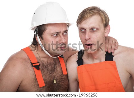 Two workers in working clothes - stock photo