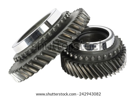Two worn cog wheels removed from the main shaft of gearbox - stock photo